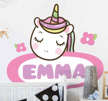 Amazing decorative bedroom sticker for a girl's room.  Because kids love fairy fantasy stories we have this personalized tagged baby unicorn design.