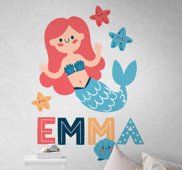 Fairy fantasy children wall sticker. An illustration of a little mermaids under the water with star fishes. Easy to apply and available in any size.