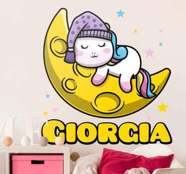 Just look at this tender and cute unicorn sticker. Interesting illustration of fairy fantasy baby unicorn sleeping on the moon with beautiful stars.