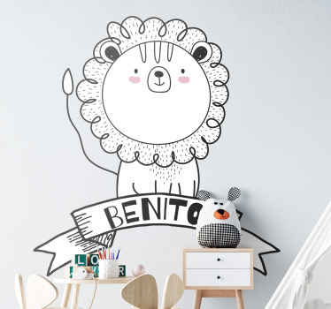 Customize the name of your baby of young kid in this beautiful cartoon lion sticker for kid. It is original, self adhesive and easy to apply.