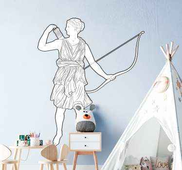 Nice wall sticker design for children's room decoration. The wall sticker with nice lovely greek goddess of the hunt branches is in beautiful colors.