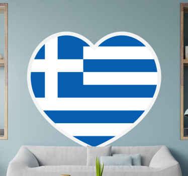 αυτοκόλλητο της καρδιάς με σημαία της Ελλάδας. διακοσμήστε το σαλόνι σας με την αναπαράσταση της ελληνικής σημαίας σε σχήμα καρδιάς της χώρας.