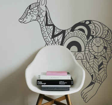 Ethical design pattern sticker of a kangaroo. Let your home space speak of your taste and your personality with our tribal pattern  kangaroo sticker.