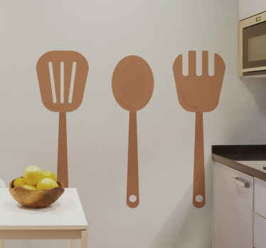 Beautiful set of wooden cooking cutlery sticker. The textural appearance is amazing and one would almost mistake it with a real tool on the wall.