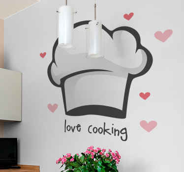 A wonderful decoration design for your kitchen if you love cooking and would like to decorate your walls. Love cooking with chef hat sticker!