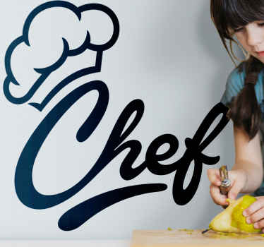 An amazing customizable colour chef hat design sticker for your kitchen. The hat is inscribe together with the text ''Chef'. Available in any size.