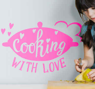 Decorative kitchen sticker of a cooking utensil and text inscription that says ''Cooking with love''. It is customizable in color and  easy to apply.