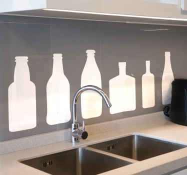 Different iconic silhouettes bottles kitchen stickers. Bottles of different sizes and shapes lined up on a horizontal order. Customizable in colour.