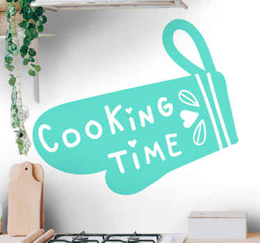 Kooktijd keuken tekst citeert sticker inscriptie op een pannenlap ontwerp. De kleur is aanpasbaar en heel gemakkelijk aan te brengen en te verwijderen.