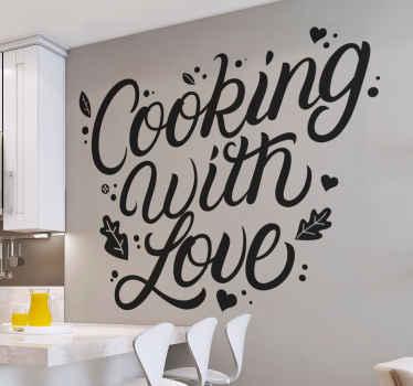 à la recherche d'un autocollant de cuisine avec juste du texte qui exprime votre amour pour la cuisine?. Ce stickers de texte «cuisiner avec amour» serait tout simplement génial.