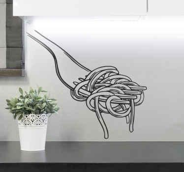 αυτοκόλλητο διακοσμητικό ρεαλιστικό κουτάλι σπαγγέτι για το χώρο της κουζίνας σας. μια τέλεια και υπέροχη διακόσμηση για τοίχο κουζίνας, ντουλάπι και τραπεζαρία.