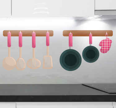 Decorative kitchen wall sticker with design of cooking spoons and frying pan hanging on a hanger. Original and easy to apply and removable.