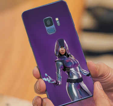 Decorative fortnite female character phone decal for Samsung. The character depicts a fortnight superhero female wearing combat suit.