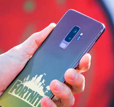 Beautiful fortnite landscape sticker for Samsung phone. The silhouette design is also inscribed with the text ''Fortnite. Easy to apply and removable.