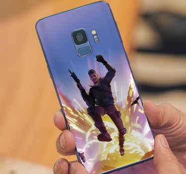 Decorative Fortnite character Samsung stickers. The design illustrates a fortnite character jumping from a bomb explosion. Easy to apply and remove.