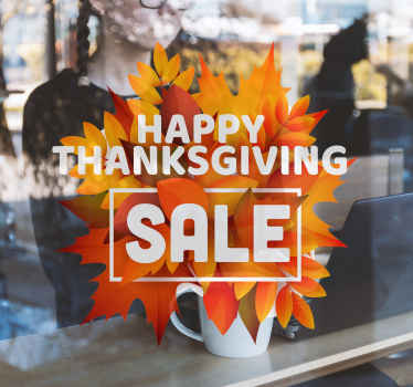 Nice happy thanksgiving orange sale stickers. Buy it and you will love it for your shop or your store and it will be decorative for this special day.