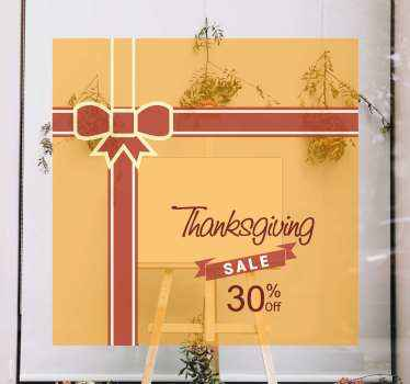 Thanksgiving sales sticker for business front space. The design is created in the format of a ceremonial ribbon band with an inscription.