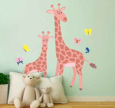 Suitable children bedroom animal sticker. A design illustrating two giraffe depicting a parent and young one. Original, durable and easy to apply.