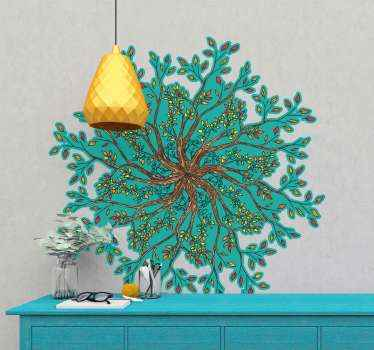 Tree of life mandala wall sticker. It is suitable for living room and bedroom's space. Create an amazing atmosphere in your home with our design.
