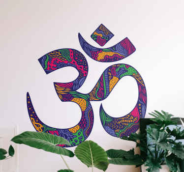 Yoga mandala floral wall sticker. Beautiful design for any space. This om symbol mandala pattern sticker design can be applied on door, wall, etc.