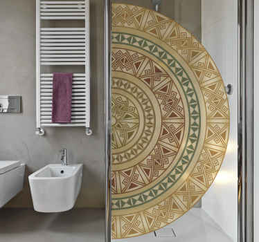 Beautiful ornamental mandala sticker for shower door. Very colorful and it would make your bathroom space look outstanding with an ethical effect.