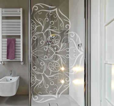 Um Vinil decorativo para porta de chuveiro translúcido feito em estilo de produtode mandala padronizada. Fácil de aplicar e de boa qualidade. A cor é personalizável.