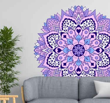 家のための驚くべき青と紫の色の曼荼羅装飾ステッカー。この素敵なデザインであなたの空間を覆い、新しくて面白い空間を楽しんでください。
