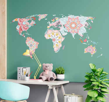 Decorative mandala world map wall sticker for home and other space decoration. The design is a world map formed with prints of mandala.