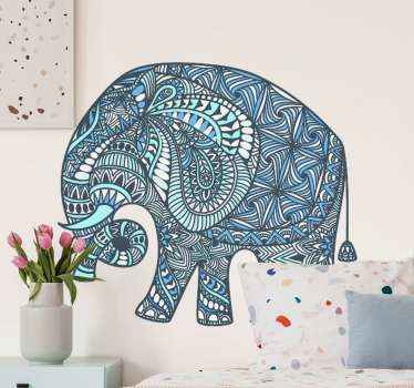 An elephant wall art sticker in mandala pattern. Transform your living room or bedroom our giant wild elephant design patterned in ethical mandala.