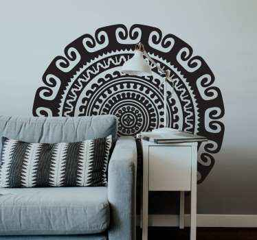 An amazing decorative mandala wall art decal design to beautify a living room space and other interior space in a house. Easy to apply and original.