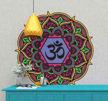 An ornamental ethical mandala sticker design inscribed with a symbolic OM sign. Suitable for a living room space. An original design of best quality.