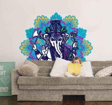居間に適した美しい曼荼羅倫理アートデザインステッカー。とてもカラフルで華やかで、飾られた空間を際立たせます。