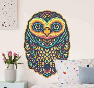 An ornamental ethical mandala owl sticker design to decorate your home with the touch of tribal art. It is original, durable and easy to apply.