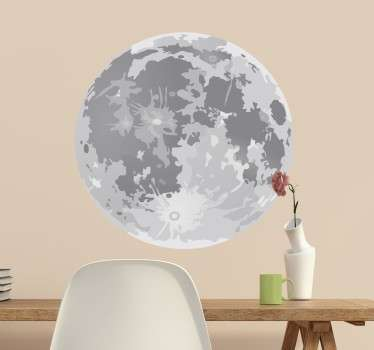 Adhesivo recortado en forma circular con una ilustración de nuestro satélite. Decora la habitación de tu casa que desees.
