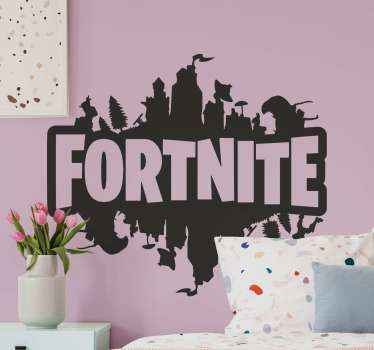 Fortnite logo mirror video game sticker. Suitable design for teenager's room and any other space you want. Customizable in different colour options.