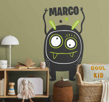 Kids Wall Stickers - Playful illustration of a square shaped alien with many eyes and funny teeth. Available in various sizes and 50 colours.