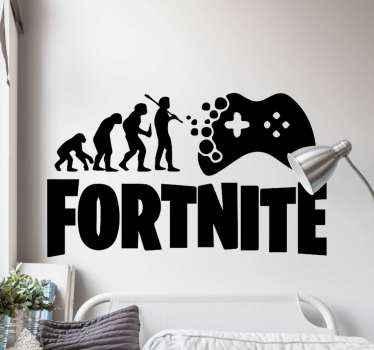 Vinilo decorativo Fortnite de evolución humana hasta llegar a la fase de jugador. Elige las medidas y el color ¡Descuentos disponibles!