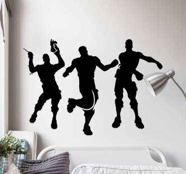 Vinilo pared Fortnite con 3 jugadores bailando en diferentes posturas. Decora tu habitación con tu juego favorito ¡Envío exprés!