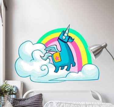 Video game vinyl sticker design of a unicorn with cloud and rainbow illustration. The product is easy to apply and it is highly durable.