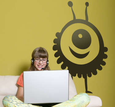 Kids Wall Stickers - Playful illustration of a friendly supernatural alien with one eye. Choose your size. High quality.