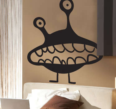 Kids Wall Stickers - Playful illustration of a supernatural alien with big teeth. Ideal for decorating areas for children and event purposes.