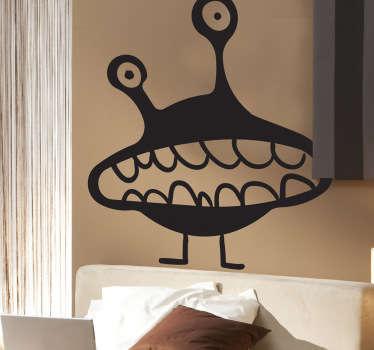 Stickers enfant illustrant un aliène à l'air perdu pour la décoration de la chambre d'enfant ou pour la personnalisation d'affaires personnelles.