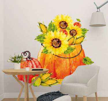 Watercolor pumpkin and sunflowers wall sticker for home decoration. This design can be decorated on holidays  and any other time.
