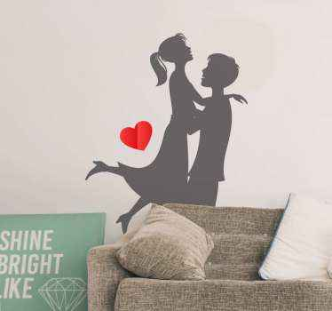 Married couple in love wedding sticker. This design would be a good idea to decorate the home of a newly wed couple. Original and easy to apply.