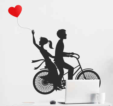 Couple with heart air balloon love sticker. On the design you can see a lovely couple ridding on a bicycle and the other holding an air balloon.