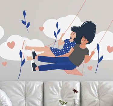 Puedes decorar tu casa con nuestro increíble vinilo romántico de amor de pareja en columpio con nubes y flores ¡Descuentos disponibles!