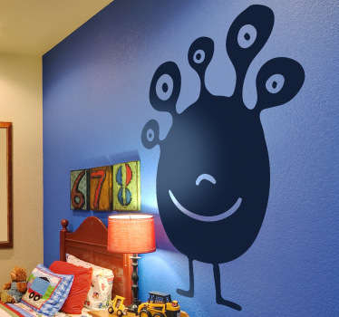 Kids Wall Stickers - Playful illustration of a friendly alien with five eyes. Ideal for decorating children bedrooms