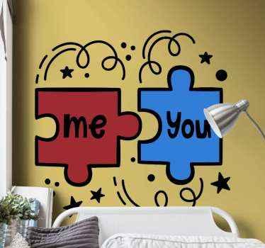 """Hermoso vinilo pared juvenil para colocar en tu habitación con dos piezas de puzzle y la frase """"tu + yo"""". Elige las medidas ¡Envío exprés!"""