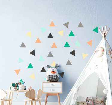 Multicolored pack of 30 little triangle shape stickers that you can decorate on the room of a child to beautify it in an interesting way.