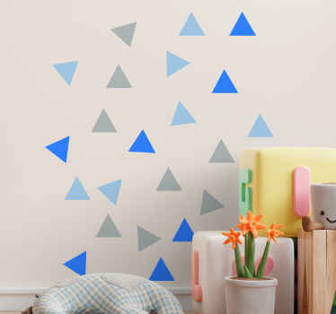 Dekorativ pakke med grå og blå farve trekant klistermærke til dekoration af børneværelset. Let at påføre, original, holdbar og selvklæbende.